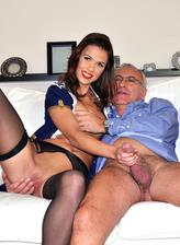 Young stewardess in black stockings gets laid by a horny old gent