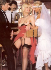Slutty bride and bridesmaid part stockinged legs for a retro orgy