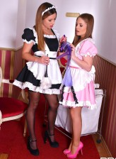 Two maids Alessandra Jane and Ally Breelsen strip to stockings and heels for a left behind strapon