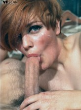 Vintage redhead in luscious glittery stockings opens up her bush