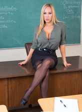 Busty blonde teacher in black stockings Olivia Austin
