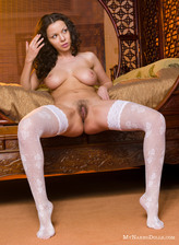Busty Christina Shmidt aka Aurora gives hairy close-ups in white patterned nylons