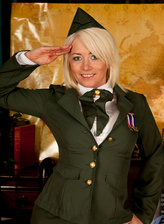 British blonde Amber Jewell in her sexy military uniform spreads her juicy pussy