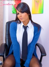 Busty secretary strips office attire for dildo play in stockings