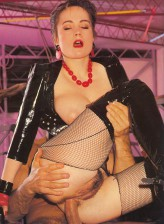 Latex clad retro stunner gets anally ravaged in her crotchless net pantyhose & boots
