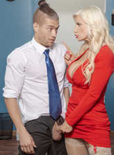 Red hot executive Brittany Andrews lures a new mailboy into a stockinged quickie