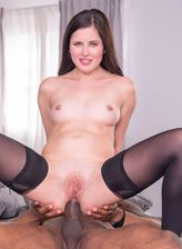 Cassie Fire, wears lingerie for an interracial anal
