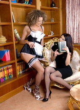 Sexy French maid and her miss go lesbo in their black fishnets