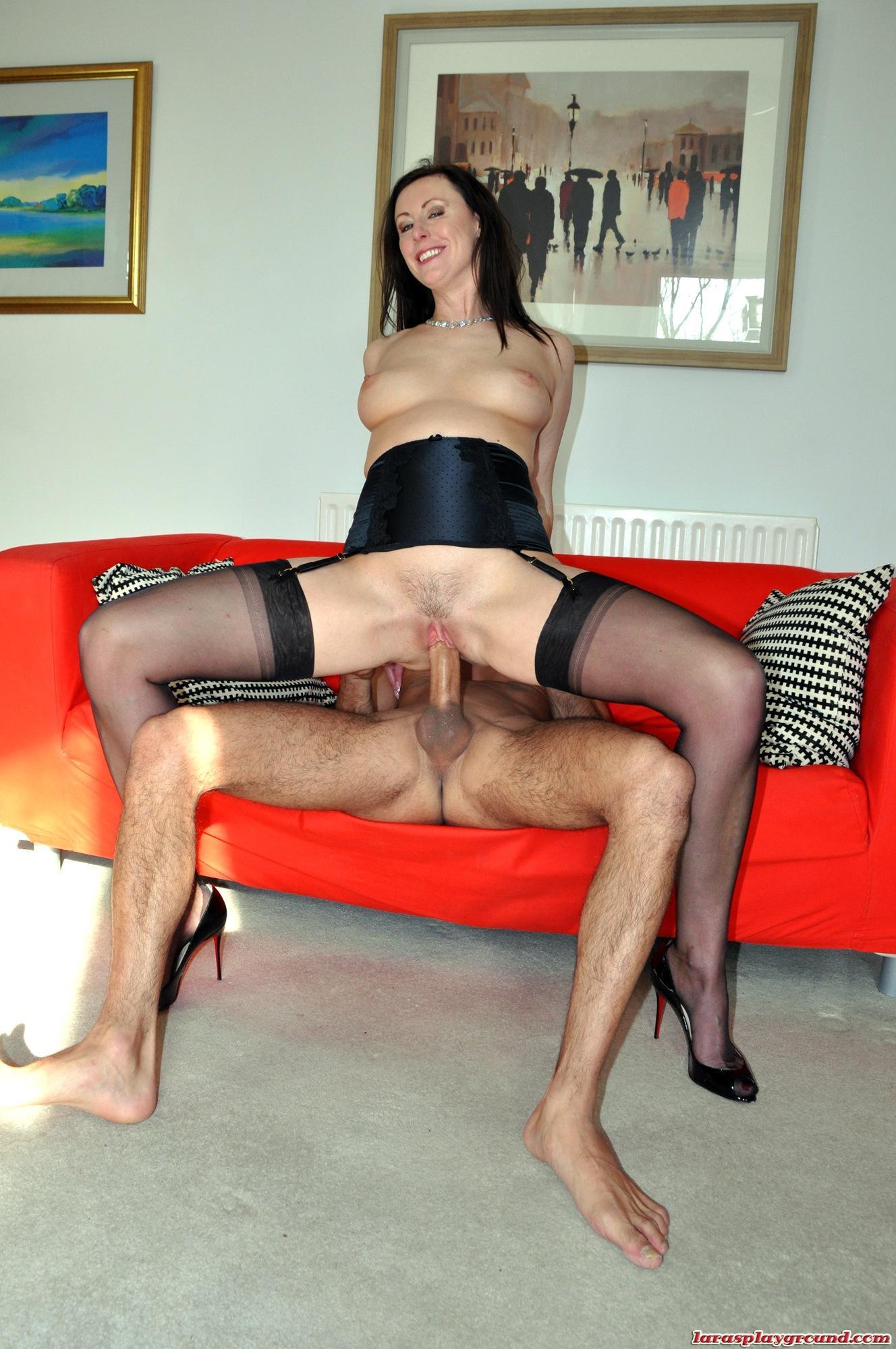 Beautiful brunette opens legs and pleasure pussy 4