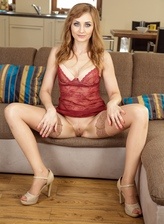 Ginger milf Luca Bella in a red lace slip & nude nylons squats for a mighty gape