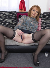 Horny mom Jalena M. opens legs in stockings & heels for a fun time with a dildo