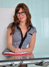 British milf Rachel takes charge and gets naughty on her desk