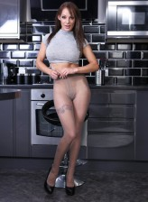 Heavily busty minx Lou Lou tears sheer-to-waist pantyhose to shreds messing in her modern kitchen