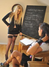Fishnet clad schoolgirl spanked by a heated stockinged teacher