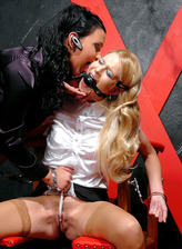 Poor stockinged blondie getting humiliated in kinky lezdom action