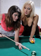 Horny girls leave a billiard table for wet lesbo pantyhose play