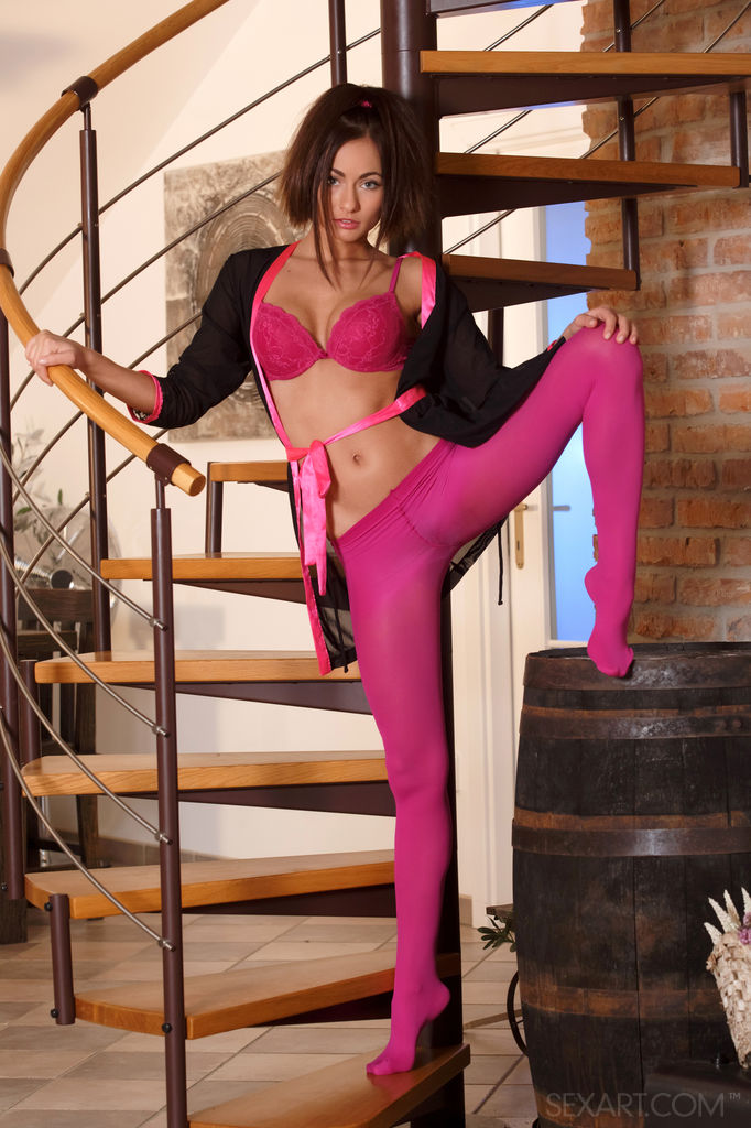 Pantyhose woman pink