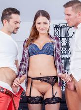 Ellen Betsy gets out of her jeans and blue undies for a cuckold FMM in fishnets