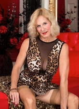 Molly Maracas strips off leopard print dress and fingers mature box