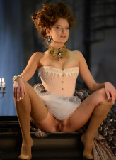 Sexy marquise strips her corseted gown and rolls down her nylons