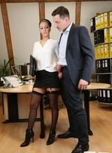German secretary Mareen Deluxe in black stockings pleases her boss