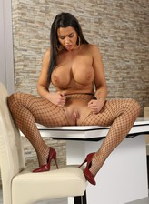 Fishnet-clad bombshell Chloe Lamour puts to use a pussy pump and giant fuck toys