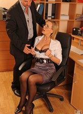 Bigtitted office milf Tanya Tate offers a stockinged fuck to make up for the lack of paperwork skill