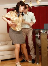 FerroNetwork / MaturesAndPantyhose - Ira C. - Horny mature babe gets her barely visible hose creamed in office doggystyle