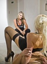 Hot milf supervises a porn film starring a blonde Syren Sexton in FF fishnets