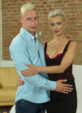 Slim-legged mom Espoir seduces a boy in her red lacy thong set and black holdups