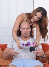 Temptingly curvy Miss Raquel pulls patterned holdups up her legs to take on anal beads before a cock