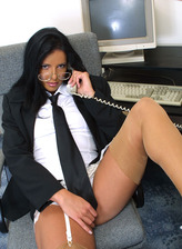 Sexy secretary Angel plays with her sweet, fully shaven pussy in the office