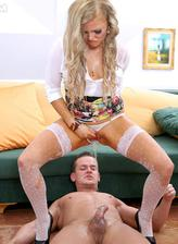 Smashing blonde in white dotted nylons gets boned before pee play