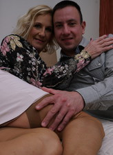 Smart UK mom Molly Maracas gets laid in her tan nylons and black-n-white undies