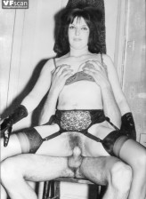 Black-n-white vintage smut with stocking-clad hairy babes going hardcore