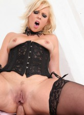 Hot-assed UK blonde Anna Joy goes for anal cowgirl ride in her sexy lacy stockings and corset
