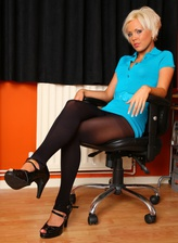 UK blonde office girl Jada Gold takes off footless tights for dildo play