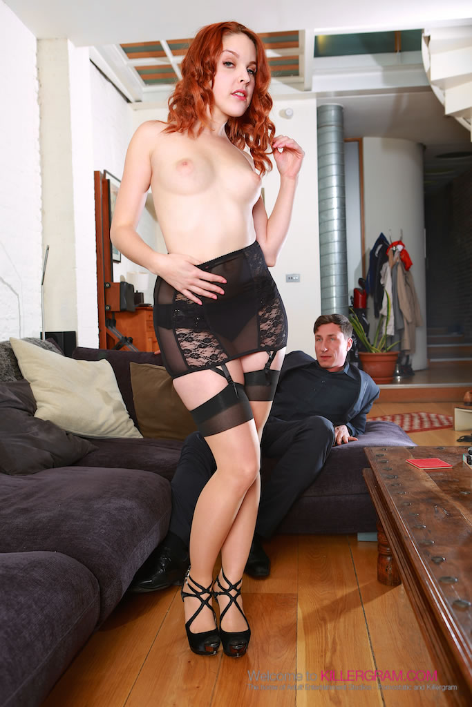 glam redhead from spain amarna miller scored in her long line girdle
