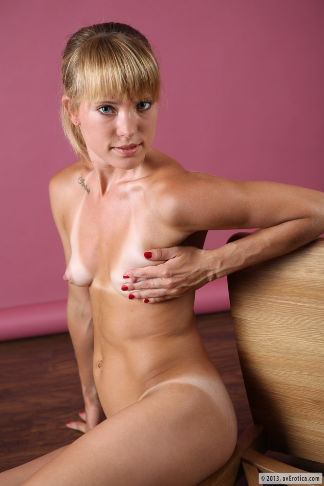 Brooke plays with her tight shaven pussy 4
