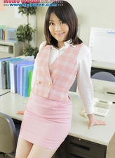 Upskirt Japanese office girl exposing her little shaved pink slit