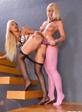 Kathia Nobili and Chloe Lacourt get to lezdom foot worshipping and ass fucking in pink and FF hose