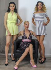 Blonde stockinged mom Yelena Vera in lez 3some with young Mia Navarro & Scarlet
