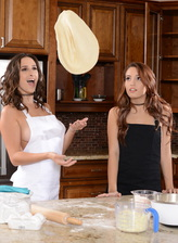 Stocking-clad Ashley Adams & Brooke Haze taste each other cooking their pizza