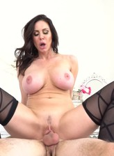 Curvy black-stockinged Kendra Lust rides the guy's face before blowing and riding his thick boner