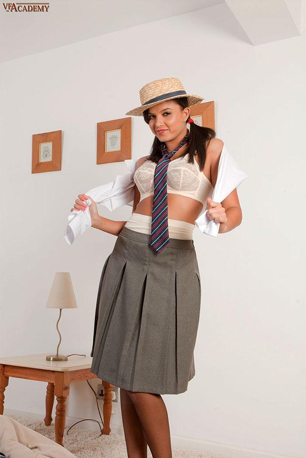 Student of pantyhose academy busty Lisa!
