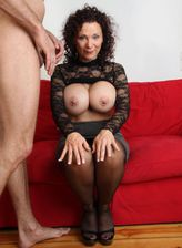 Bigtitted German mature Sklavin Michaela bares her melons and straddles a guy in her black holdups