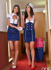 Spanish lezzies Alexa Tomas and Lorena Garcia strapon fuck in flight attendant uniforms and heels