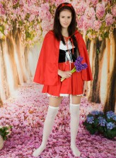 Dressed like Red Riding Hood Kora peels off white panties and over-knee highs