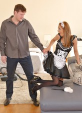 Uniformed and stockinged Kirghiz maid Dominica Phoenix readily takes it up the ass for extra cash