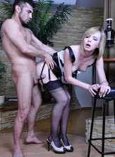 Upskirt French maid in black FF stockings servicing a horny stud